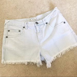 Free People cutoff striped frayed denim shorts